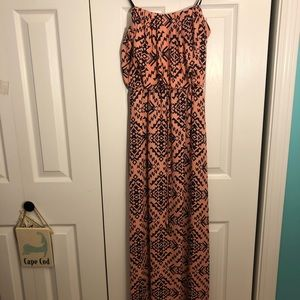 Navy & Pink Patterned Strapless Maxi Dress